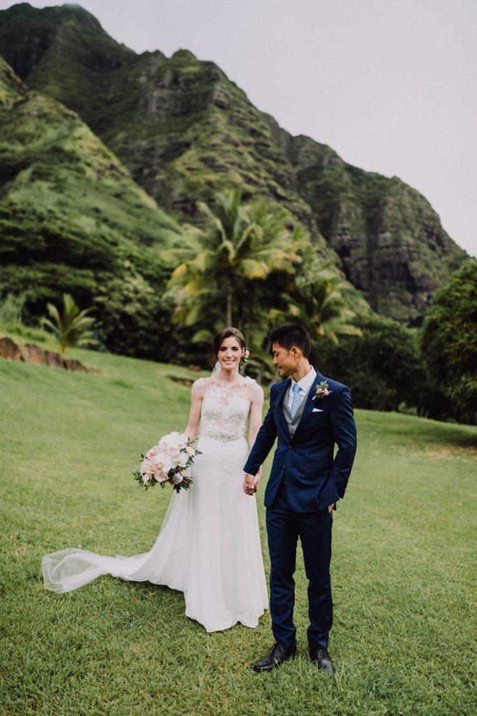 bride and groom elope with green mountain backdrop
